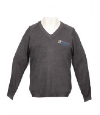 Kingswood Academy V Neck Sweater with School logo Grey