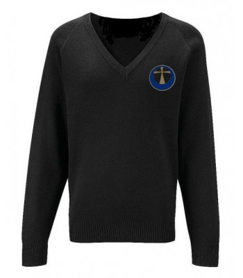 Archbishop Black V-Neck Pullover (with your school logo)
