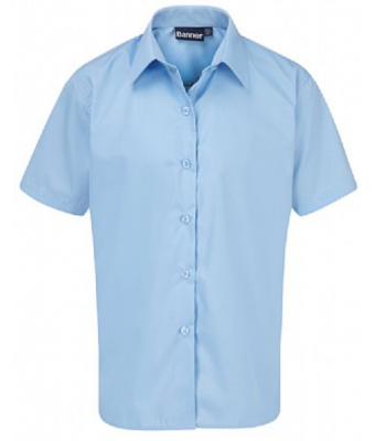Girls Sky Blue Short Sleeve Blouse (with your school emb logo)