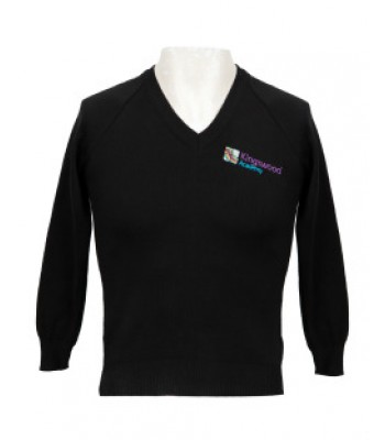 Kingswood Academy V Neck Sweater with School logo Black