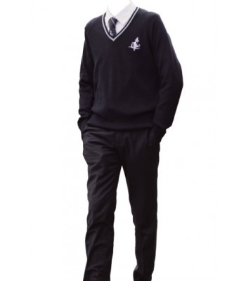 Cottingham V Neck Sweater with trim and School logo