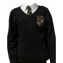 Malet Lambert V Neck knitted jumper with School logo
