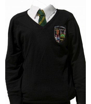 Malet Lambert V Neck Sweater with School logo